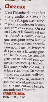 Critique de Chez Eux dans Femme Actuelle, Eliane Girard