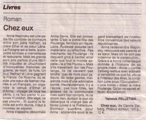 Paru dans Ouest-France, mercredi 31 mars 2004  par Yannick Pelletier