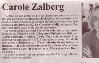 Paru dans Le Républicain Lorrain, 6 juin 2004, page spéciale Eté du livre de Metz