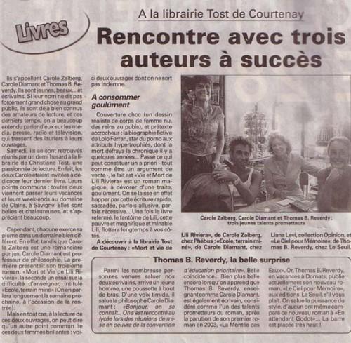 Paru dans L'Éclaireur, jeudi 25 juin 2005