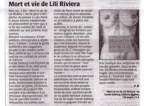 Critique de Mort et vie de Lili Riviera par Frédérique Bréhaut dans Le Maine Libre