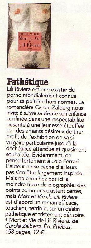 Paru dans Questions de femmes, Juillet 2005. A propos de Mort et vie de Lili Riviera