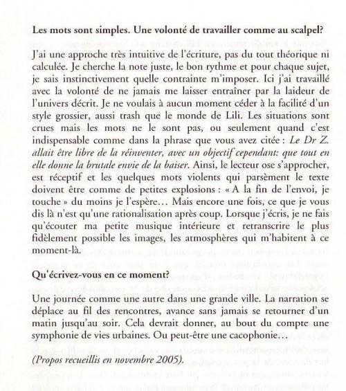 Mort et Vie de Lili Riviera - Entretien dans L'Indicible Frontière 2006