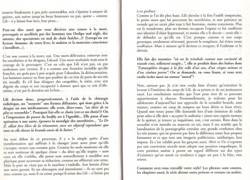 Mort et Vie de Lili Riviera - 2. Entretien paru dans L'Indicible Frontière 2006