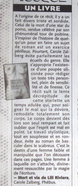 A propos de Mort et vie de Lili Riviera - David Desvérité - Liberté Dimanche 2005