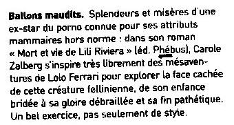 Mort et vie de Lili Riviera - presse Optimum, mai 2005