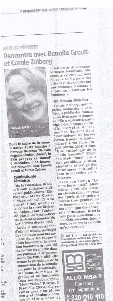 Rencontre avec Benoîte Groult, Le Populaire du Centre 6 décembre 2008