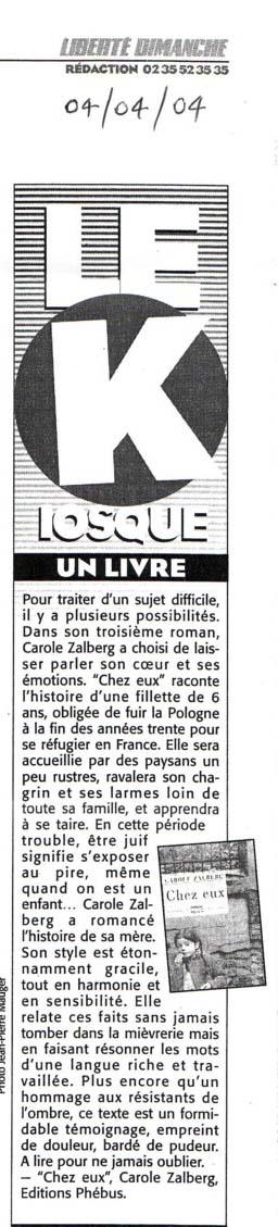 Chez Eux - Liberté Dimanche, 4 avril 2004