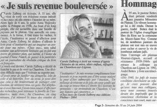Paru dans La Gazette de Haute-Loire, semaine du 18-24 juin 2004