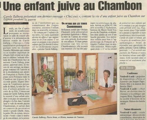 La Gazette de Haute-Loire n° 147, après la soirée en mairie du Chambon
