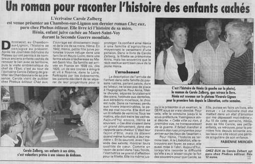 Paru dans La Tribune-Le Progrès du jeudi 5 août 2004  par Fabienne Mercier
