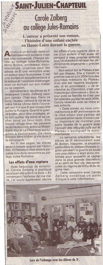 Paru dans La Tribune du 13/02/05 après passage à Saint-Julien Chapteuil