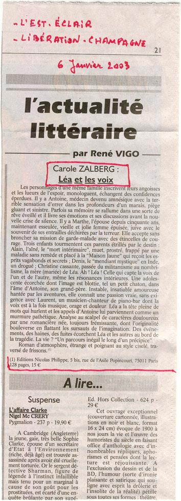 Paru dans  L'Est-Eclair et Libération Champagne  par René Vigo