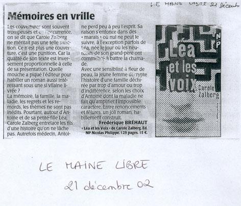 Léa et les voix dans Le Maine, 21 décembre 2002