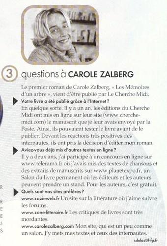 Interview parue dans le Elle du 25 mars 2002